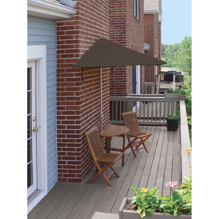 5-Piece Terrace Mates Economy Outdoor Furniture Set 7.5' - Chocolate Sunbrella, Brown, Patio Furniture