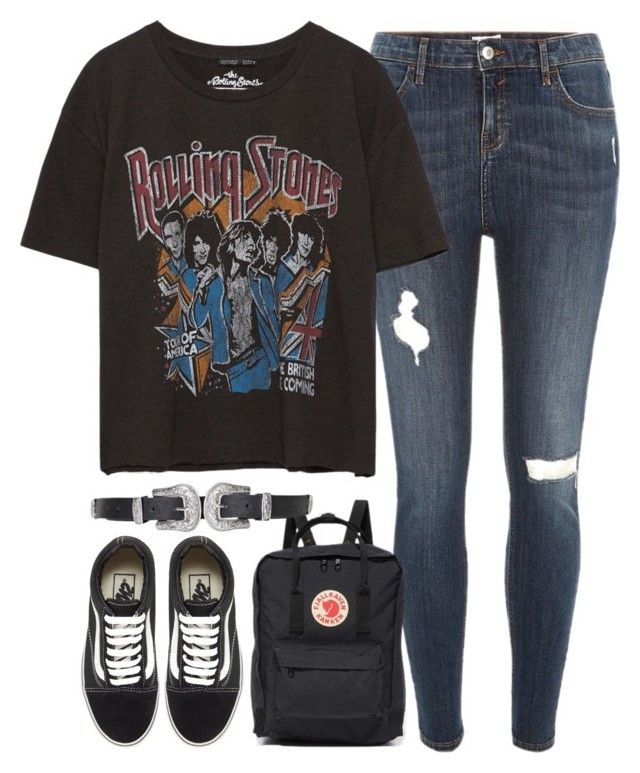 """outfit with a band tee and vans"" by ferned on Polyvore featuring River Island, Vans, Fjällräven and Topshop"