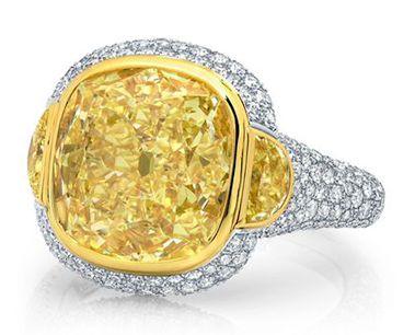 Martin Katz. Cushion Cut Fancy Light Yellow Diamond Ring #jewelry #finejewelry…