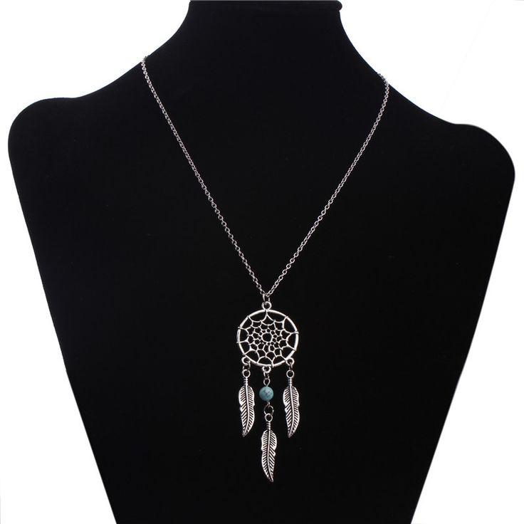 N720 Dream Catcher Ожерелье Перо Бирюзовый Бисера Женщины Ювелирные Изделия Цепи Ожерелья Bijoux Ожерелье 2017 купить на AliExpress
