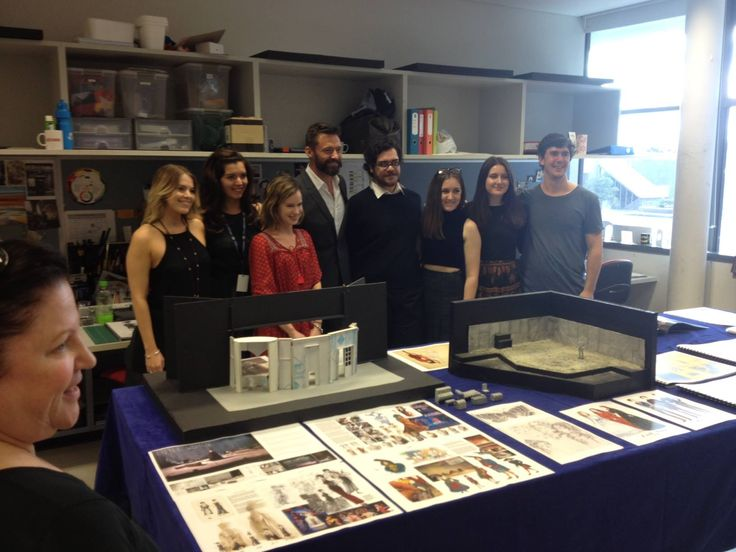 WAAPA Stage and Costume Design students with Hugh Jackman.