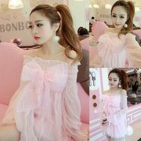 Wish | New Lolita Kawaii Dress Japanese Girls Cute Bowknot Princess Boat Neck Chiffon Dolly Pink Long Blouse (Color: Pink)