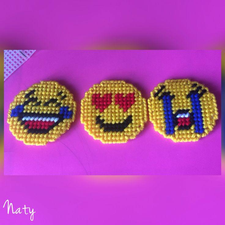 Plastic canvas emojis