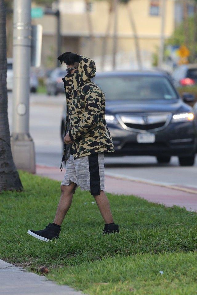 The Weeknd wearing Bape Camo T-shirt, Bape Camo Jacket