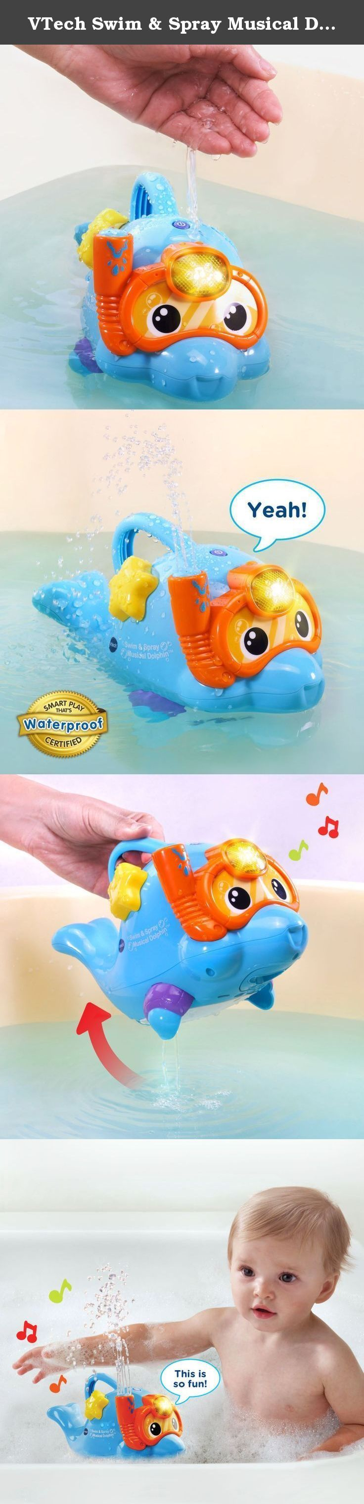 VTech Swim & Spray Musical Dolphin. Dive and play with the Swim and Spray Musical Dolphin by VTech. Pour water over the friendly little dolphin, and he'll spray water from his snorkel. Water sprays from this bath toy in different patterns and intensities based on the music for fun tactile and visual stimulation. Twist the starfish on his side to build fine motor skills while hearing more than 55 fun sounds, phrases and melodies. The dolphin's face mask also lights up and flashes with the...