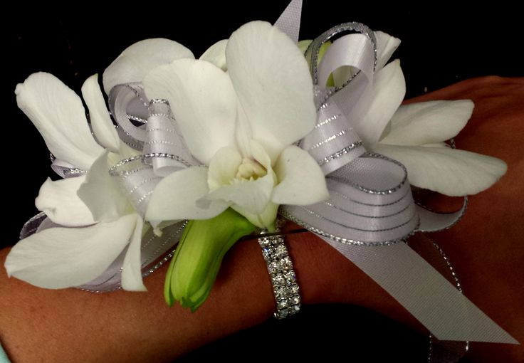 """Grande Flowers' """"Sophisticated"""" White Orchid Wrist Corsage ..."""