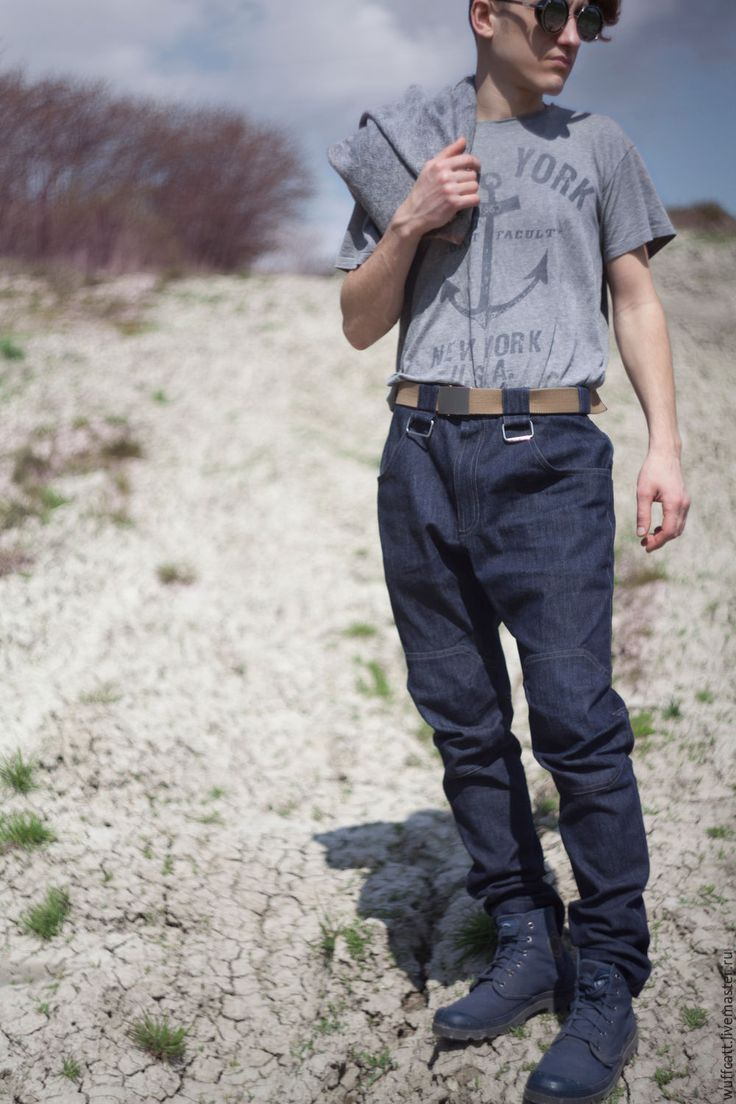 Купить Модные синие мужские джинсы-галифе в стиле милитари - джинсы мужские, штаны с мотней