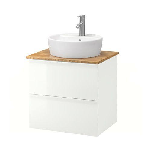 GODMORGON/ALDERN / TÖRNVIKEN Kast voor wastafel 45 v bovenblad - bamboe, hoogglans wit - IKEA