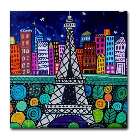 4x4 Paris France Art Tile Eiffel Tower  by HeatherGallerArt, $20.00