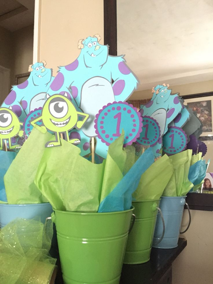 Center pieces, monsters inc, one year old