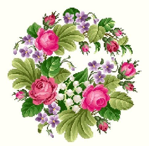 Cross stitch floral wreath