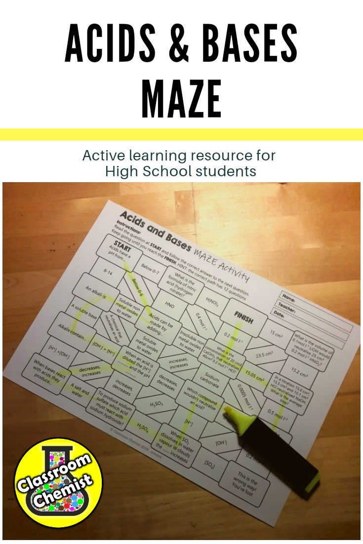 Acids And Bases Maze Activty High School Science High School Chemistry Student Resources