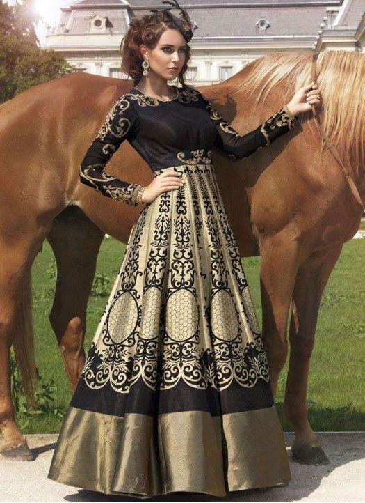 New Heavy Designer Black & Beige Anarkali Suit