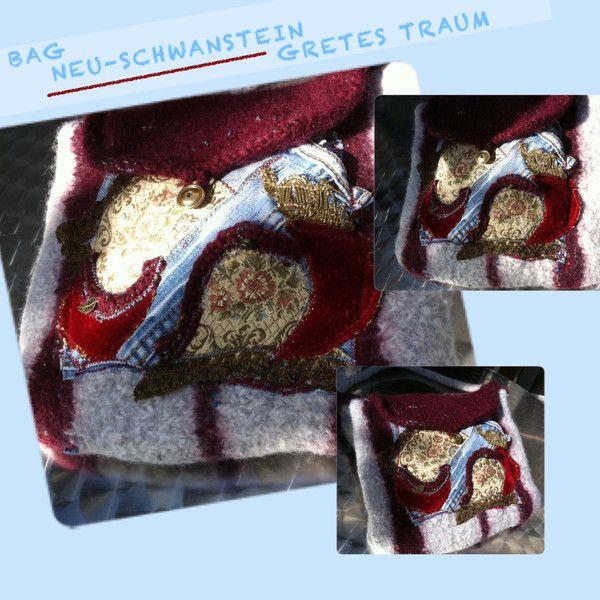 Handtasche - TASCHE, NEU-SCHWANSTEIN, Brokat,Jeans,rot,blau - ein Designerstück von GretesTraum bei DaWanda