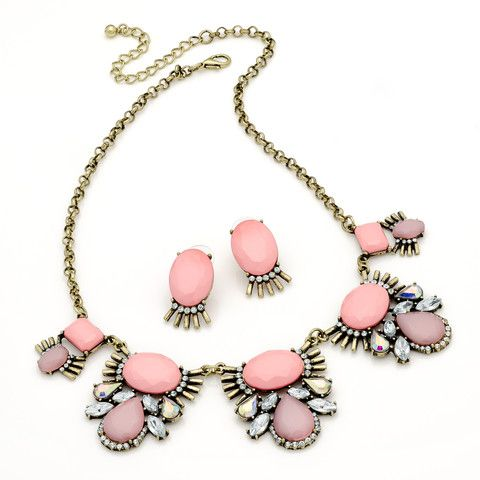 Bianca Pink, Gold and Crystal Statement Necklace Set