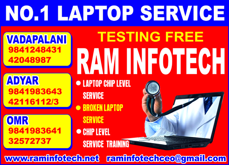Ram infotech is no.1 laptop service center in chennai. all kind of hard disk data recovery service in chennai  for internal and external hdd. all branded laptop service, all kind of laptop motherboard chip level repair service all kind of broken laptop service, ct. vijayan 9841983643, 9841814405.http://laptopservicechennai.raminfotech.net