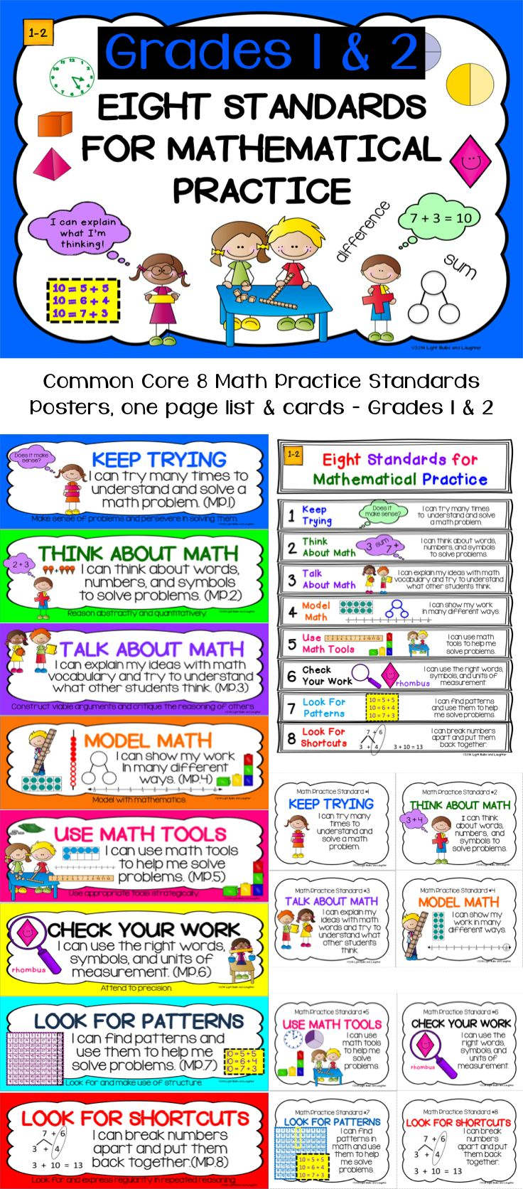 8 Math Practice Standards for grades 1-2 in kid-friendly language!  Posters for whiteboard, one page list, cards to put on rings. $4 on TpT