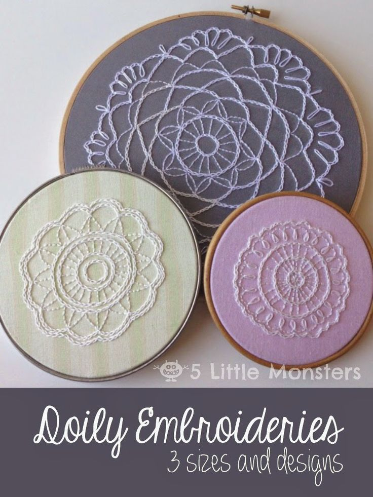 Doily Embroideries in three sizes. Includes free patterns. #embroidery #freepattern