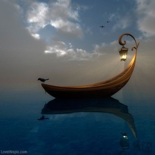 Carmela water romantic boat reflection lantern row