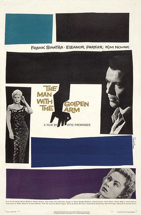"The Man with the Golden Arm, arrived at US movie theatres in 1955, a note was stuck on the cans - ""Projectionists – pull curtain before titles"". That cut-out arm caused a sensation and Saul Bass reinvented the movie title as an art form. Both the poster and movie title featured Sinatra's arm, a symbol of his drug addiction."