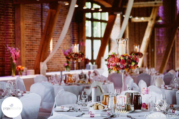 2. Fuchsia Orange Wedding, centerpieces / Wesele fuksjowo-pomarańczowe   Dekoracje stołów, Anioły Przyjęć