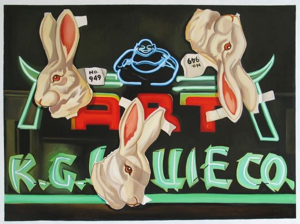 Neon Gods, Sam Walker. Pop Art. Oil on canvas. A playful yet edgy addition to any urban interior.