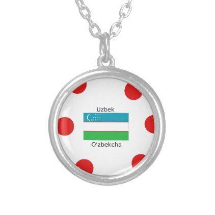 Uzbek Language And Uzbekistan Flag Design Silver Plated Necklace - jewelry jewellery unique special diy gift present
