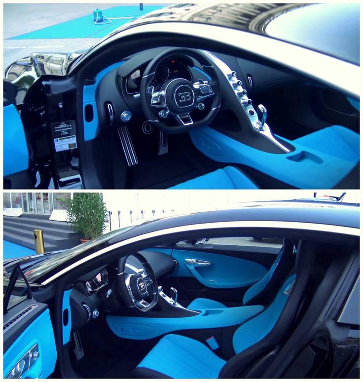 Bugatti Chiron interior black and blue
