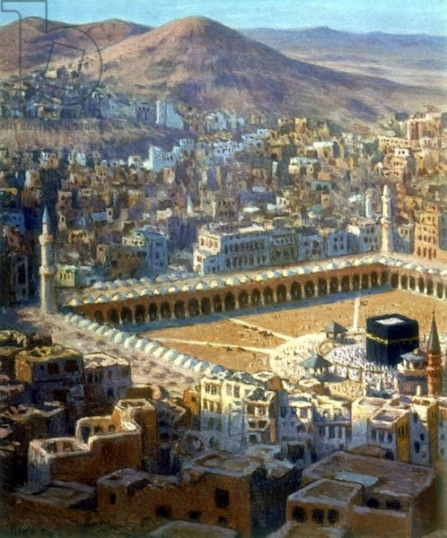 View of Mecca. Illustration from La Vie de Mohammed, Prophete d'Allah (The Life of Mohammed, Prophet of Allah).