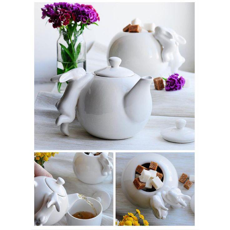 """«Небольшая доза утренней нежности с чайным набором """"Воришки """"☕️ Чайничек ( объём 650 мл.) 1990 руб. Сахарница 1790 руб. Набор вместе 3390 руб.…»"""