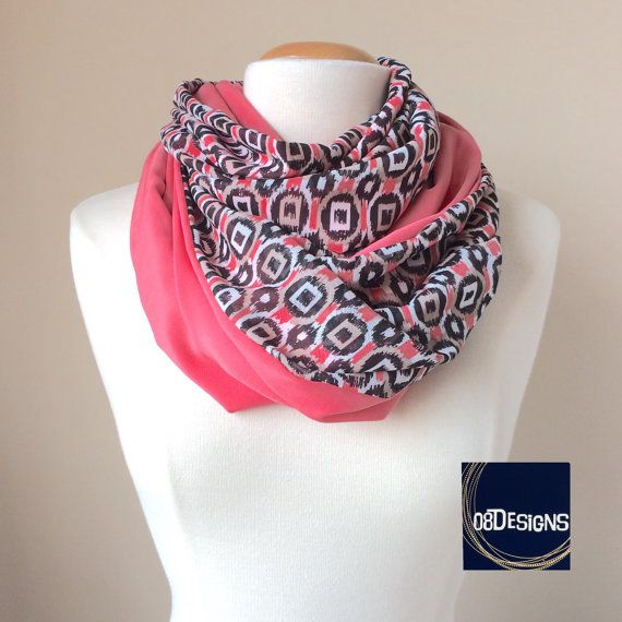 Nursing Scarf  Black White Pink Geometric Print by 08Designs