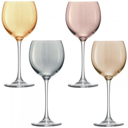 Invite your friends over to enjoy a set of four beautiful wine glasses in assorted shades from LSA