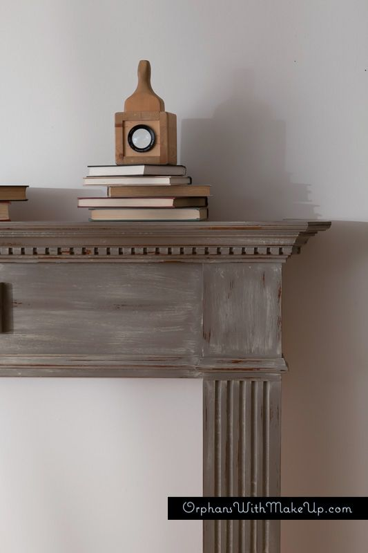 Fireplace mantel painted in Coco and washed with Country Grey Chalk Paint® decorative paint by Annie Sloan, with lots of distressing.