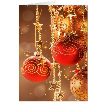 #Red and Gold Ornaments and Stars Christmas Card - #Xmascards #ChristmasEve Christmas Eve #Christmas #merry #xmas #family #holy #kids #gifts #holidays #Santa #cards