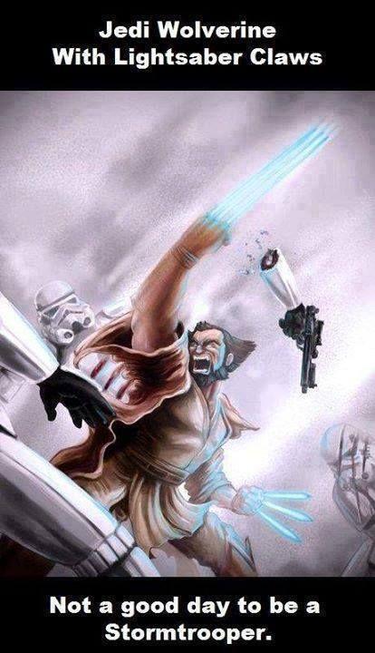 Hier eine Inspiration für unseren am Freitag zu Ende gehenden Star-Wars-Schreibwettbewerb: Wolverine mit Jedi-Kräften und Lichtschwert-, äh, Krallen! http://www.jedipedia.net/wiki/Jedipedia:Events/Schreibwettbewerb