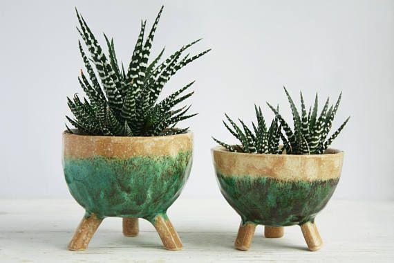 Cute Ceramic Planter With Legs Blue Succulent Pot Cermic Pot Small Flower Pots Decorated Flower Pots Flower Pots