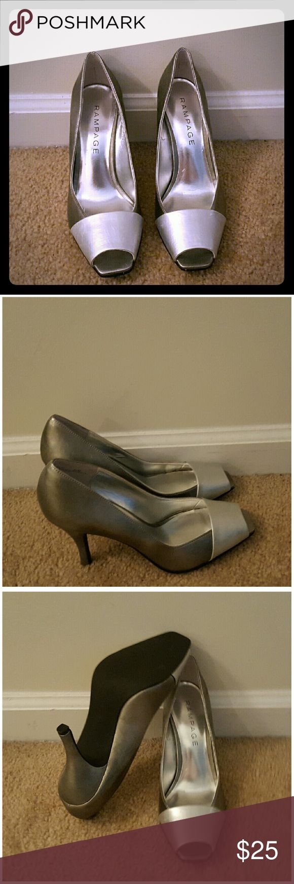 Silver Metallic Pumps Sexy Silver Metallic Pumps in good condition worn a couple times!!! Rampage Shoes Heels