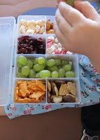 Toddler snack buffet for plane ride. What a great way to store all of those tiny snack foods on the airplane!