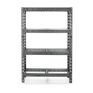 "Gladiator GARS484TEG Heavy Duty Rack with Four 18"" Deep Shelves, Hammered Granite, 48"" W"