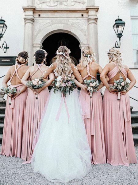 Hübsche nicht übereinstimmende rosa Satin lange Brautjungfernkleider, FPWG002