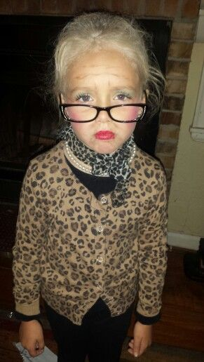 100th Day of School. Dress up like an old lady. ( She's only five) :)