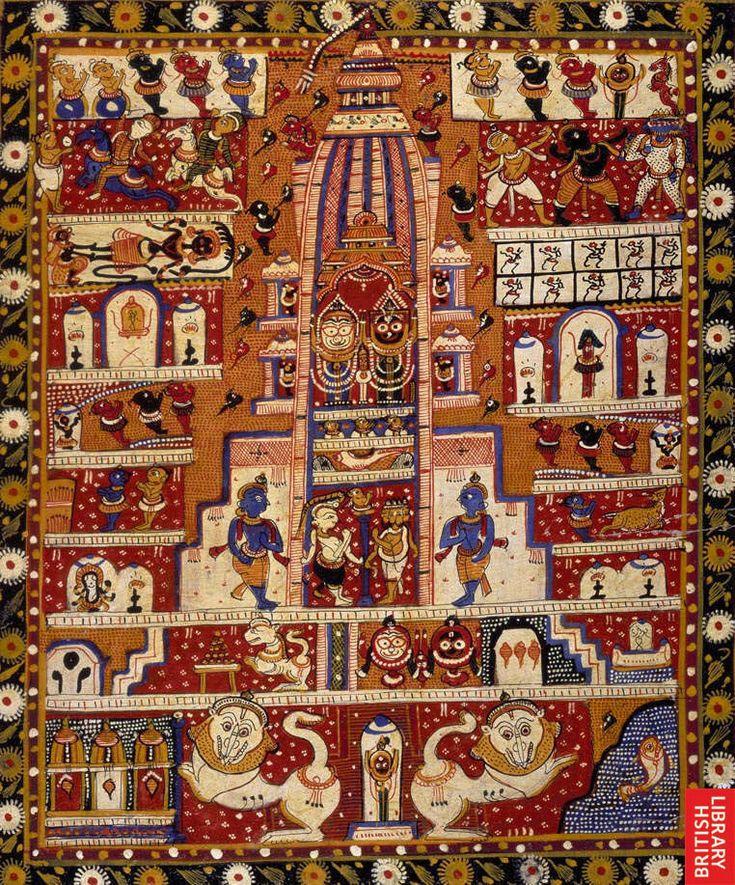 The Jagannath temple. Description:  A diagram of the Jagannath temple, showing the centre shrine midway up a slender shikhara, or tower. Opaque watercolour. Production:  1920-1930.