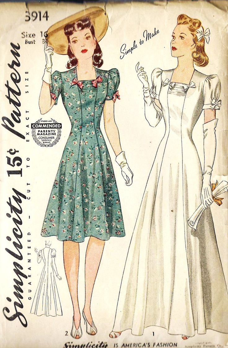 1940s Misses Princess Line Wedding Gown, Evening Gown and Daytime Dress Vintage Sewing Pattern,Simplicity 3914 bust 34 uncut. $55.00, via Etsy.