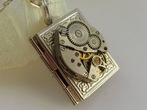 Steampunk book locket necklace with watch  movement by Timewatch