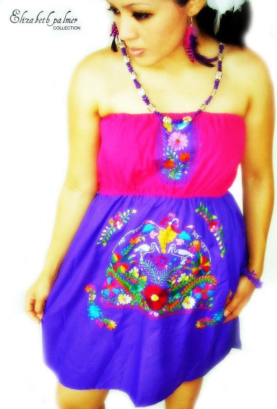 Diosa Azteca Mexican Embroidered Mini Dress Fashion