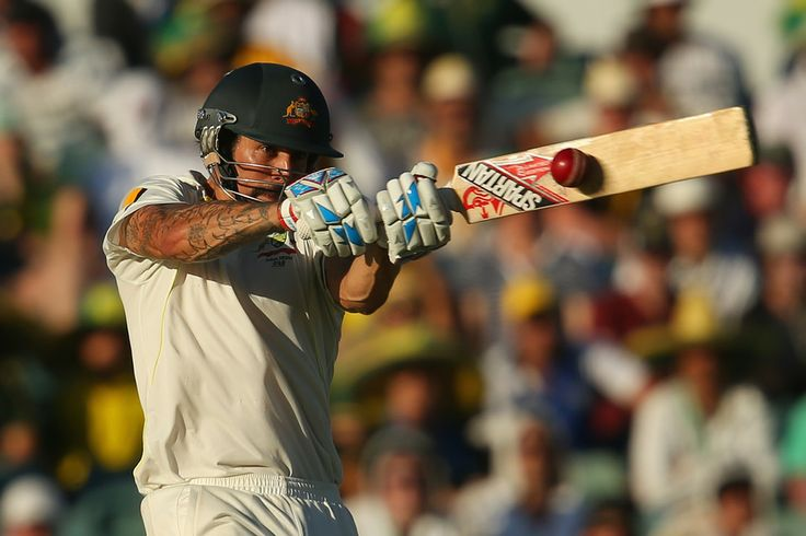 CONTACT: Mitchell Johnson of Australia batted during day one of the Third Ashes Test Match between Australia and England Friday in Perth, Au...