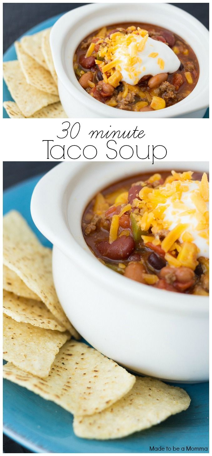 Warm your insides with this delicious Taco Soup that you can make in only 30 minutes! It's the perfect quick fix dinner!