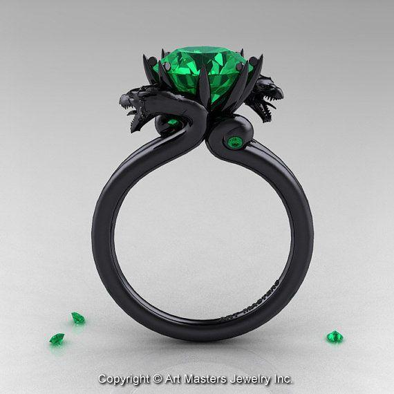 Art Masters 14K Black Gold 3 0 Ct Chatham Emerald Dragon Engagement Ring R601