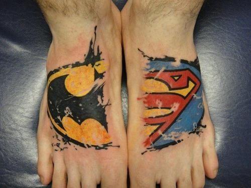 162762974003021592_RDb6hDGf_f: Tattoo Ideas, Couple Tattoo, Feet Tattoo, Body Art, Dc Comic, Tattoo Design, Super Heroes, Superman Tattoo, Superhero