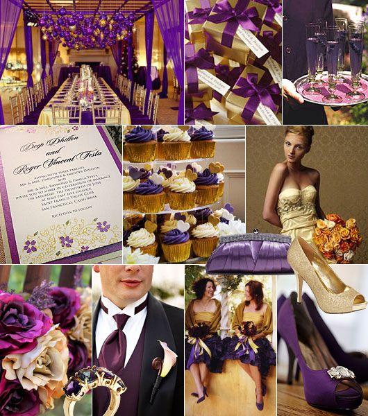Lila-guld färgtema på bröllop / Color theme: purple, gold